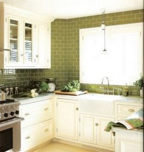or this green - but only as a backsplash - not covering the whole wall. we couldn't afford that.